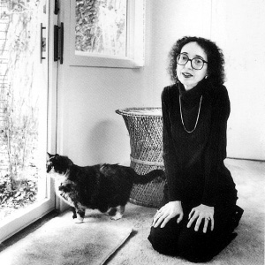 Joyce Carol Oates and cat.