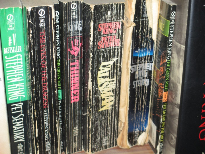 One of the bookshelves holding me and my sister's well-worn Stephen King books.