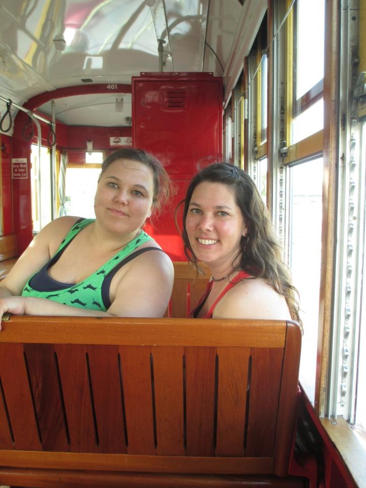 Megan and Sarah on New Orleans streetcar